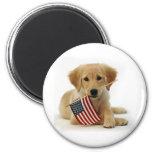 Golden Retriever Puppy and Flag Fridge Magnet