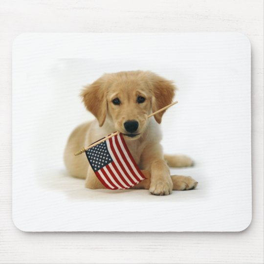 Golden Retriever Puppy and Flag Mouse Pad