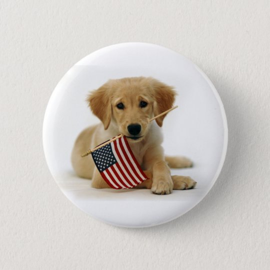 Golden Retriever Puppy and Flag Pinback Button