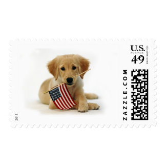 Golden Retriever Puppy and Flag Postage
