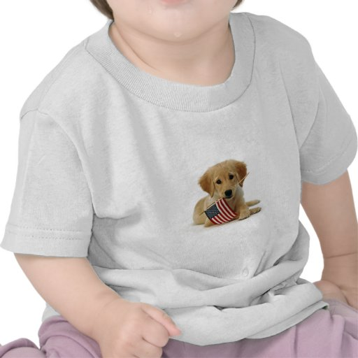 Golden Retriever Puppy and Flag Shirt