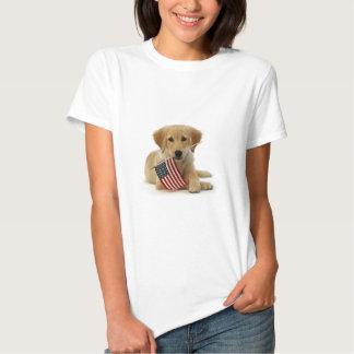 Golden Retriever Puppy and Flag Tee Shirt
