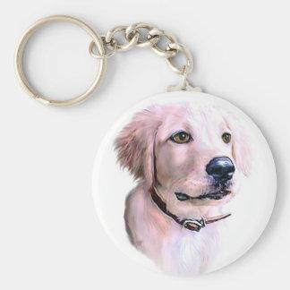Golden Retriever Puppy Basic Round Button Keychain