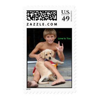 """Golden Retriever Puppy & Boy Sign """"ILY"""" Stamp"""