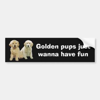 Golden Retriever Puppy Bumper Sticker Car Bumper Sticker