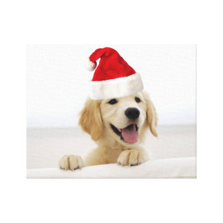 Golden Retriever Puppy Christmas Canvas Print