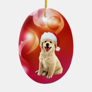 Golden retriever puppy Christmas Double-Sided Oval Ceramic Christmas Ornament