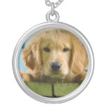 Golden Retriever Puppy Dog Canis Lupus Familiaris Round Pendant Necklace