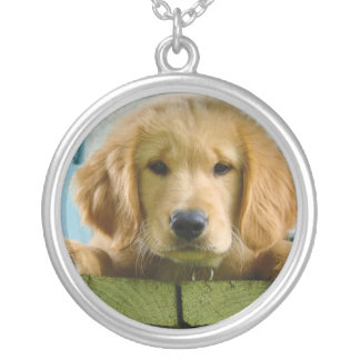 Golden Retriever Puppy Dog Canis Lupus Familiaris Silver Plated Necklace