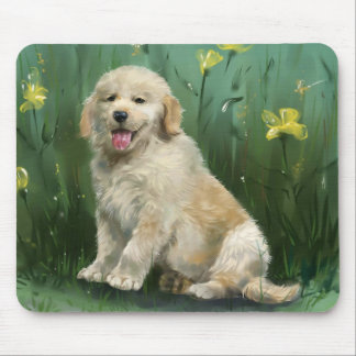 Golden Retriever Puppy Dog Painting Mousepad