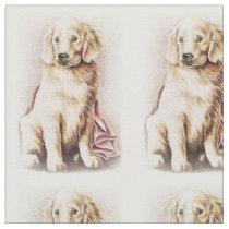 Golden Retriever Puppy dog pet portrait drawing Fabric