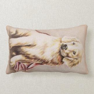 Golden Retriever Puppy dog pet portrait drawing Lumbar Pillow