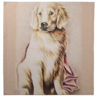 Golden Retriever Puppy dog pet portrait drawing Napkin