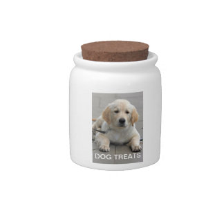 Golden Retriever puppy dog photo dog treats jar Candy Dish