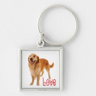 Golden Retriever Puppy Dog Red Love Heart Keychain