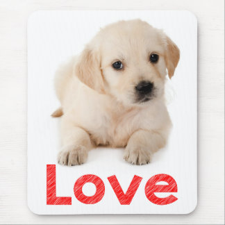 Golden Retriever Puppy Dog Red Love Mouse Pad