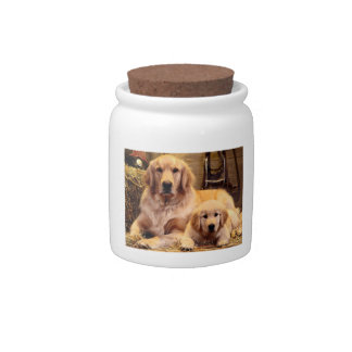 Golden Retriever & Puppy Dog Treat Candy Jar