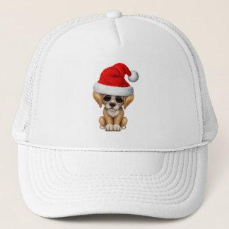 Golden Retriever Puppy Dog Wearing a Santa Hat