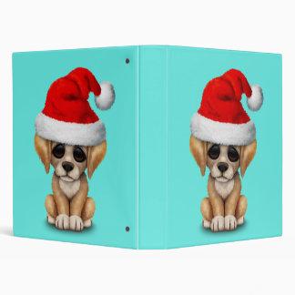 Golden Retriever Puppy Dog Wearing a Santa Hat 3 Ring Binder