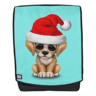 Golden Retriever Puppy Dog Wearing a Santa Hat Backpack