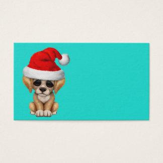 Golden Retriever Puppy Dog Wearing a Santa Hat Business Card