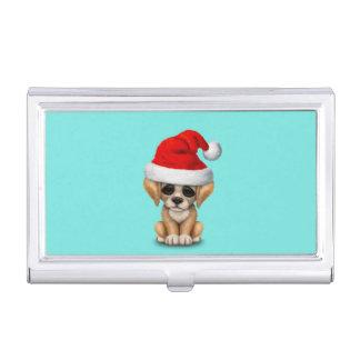 Golden Retriever Puppy Dog Wearing a Santa Hat Business Card Case