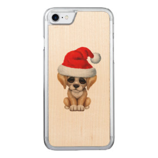Golden Retriever Puppy Dog Wearing a Santa Hat Carved iPhone 8/7 Case