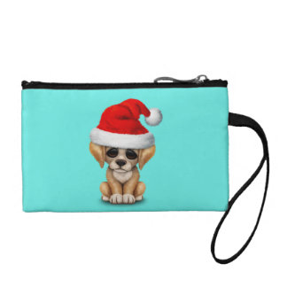 Golden Retriever Puppy Dog Wearing a Santa Hat Coin Purse