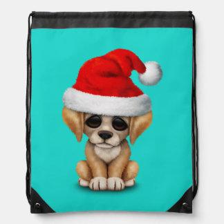Golden Retriever Puppy Dog Wearing a Santa Hat Drawstring Backpack