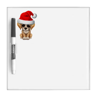 Golden Retriever Puppy Dog Wearing a Santa Hat Dry-Erase Board