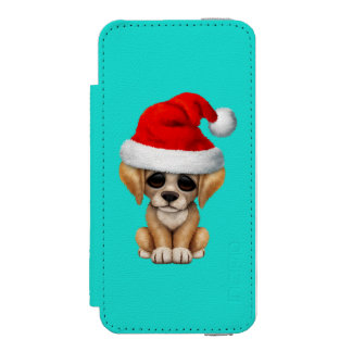Golden Retriever Puppy Dog Wearing a Santa Hat iPhone SE/5/5s Wallet Case
