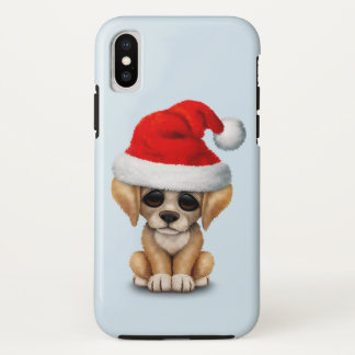 Golden Retriever Puppy Dog Wearing a Santa Hat iPhone X Case