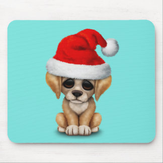 Golden Retriever Puppy Dog Wearing a Santa Hat Mouse Pad