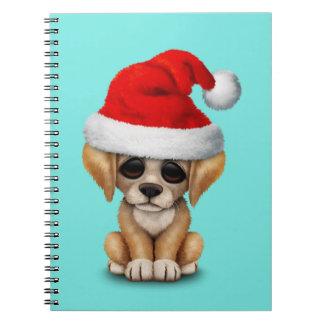 Golden Retriever Puppy Dog Wearing a Santa Hat Notebook