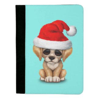 Golden Retriever Puppy Dog Wearing a Santa Hat Padfolio