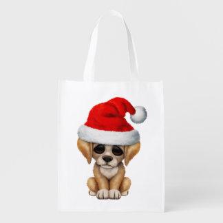 Golden Retriever Puppy Dog Wearing a Santa Hat Reusable Grocery Bag