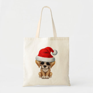 Golden Retriever Puppy Dog Wearing a Santa Hat Tote Bag