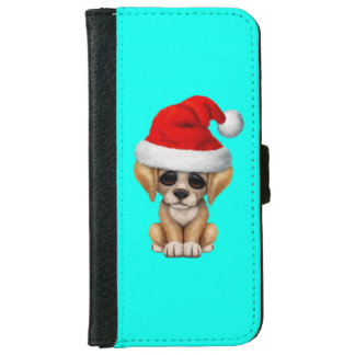 Golden Retriever Puppy Dog Wearing a Santa Hat Wallet Phone Case For iPhone 6/6s