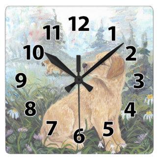 Golden Retriever Puppy Dreamer Clock