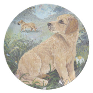 Golden Retriever Puppy Dreamer Plates