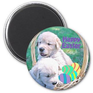 Golden Retriever Puppy Easter Basket 2 Inch Round Magnet