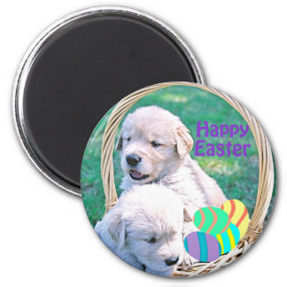 Golden Retriever Puppy Easter Basket Magnet