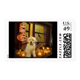 Golden Retriever Puppy Halloween Postage Stamp