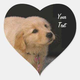 Golden Retriever Puppy Heart Sticker