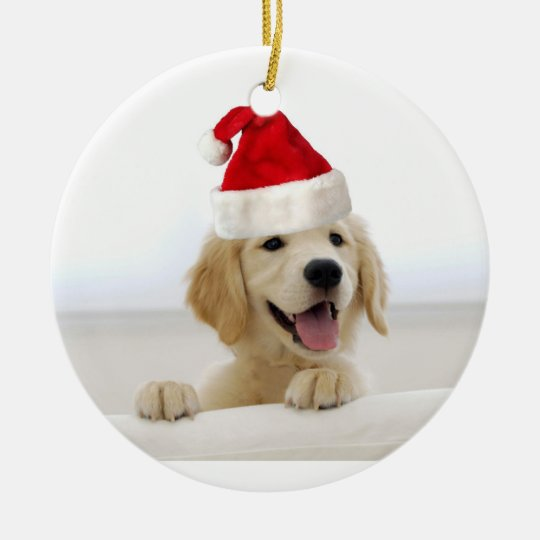 golden retriever puppy holiday christmas ornament