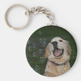 Golden Retriever Puppy in Bubbles Keychain