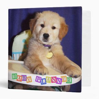 Golden Retriever Puppy in Highchair 3 Ring Binder