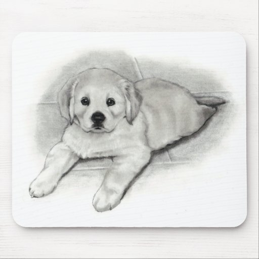 Golden Retriever Puppy in Pencil: Realism Drawing Mouse Pad