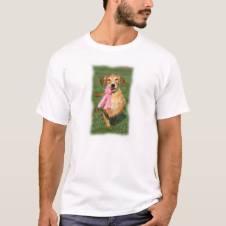 Golden retriever puppy jumps with toy T-Shirt