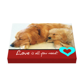 Golden Retriever Puppy Love Gallery Wrapped Canvas